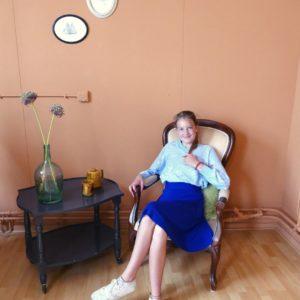 vintage babyblauw gebreide trui